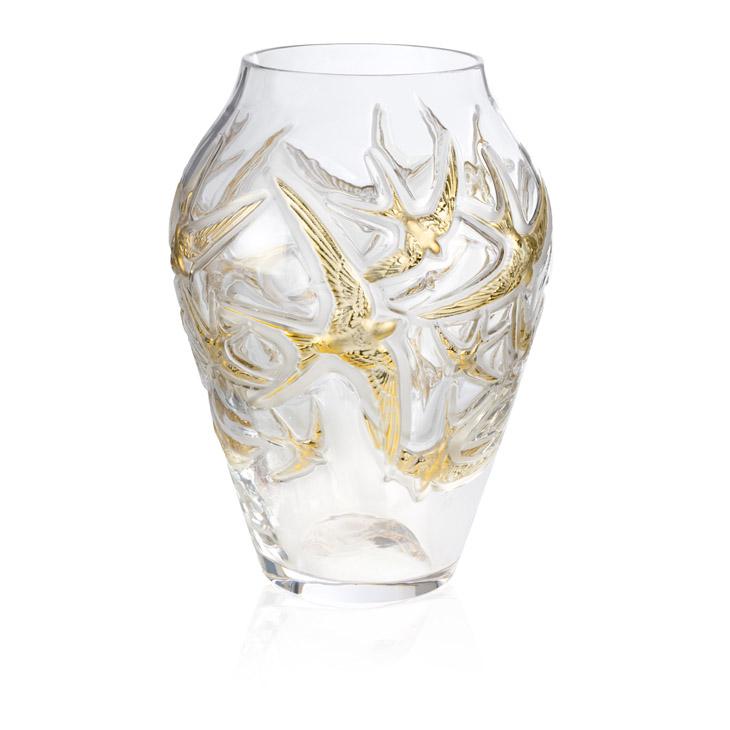 百年水晶工藝結晶 LALIQUE 金燕報喜花瓶