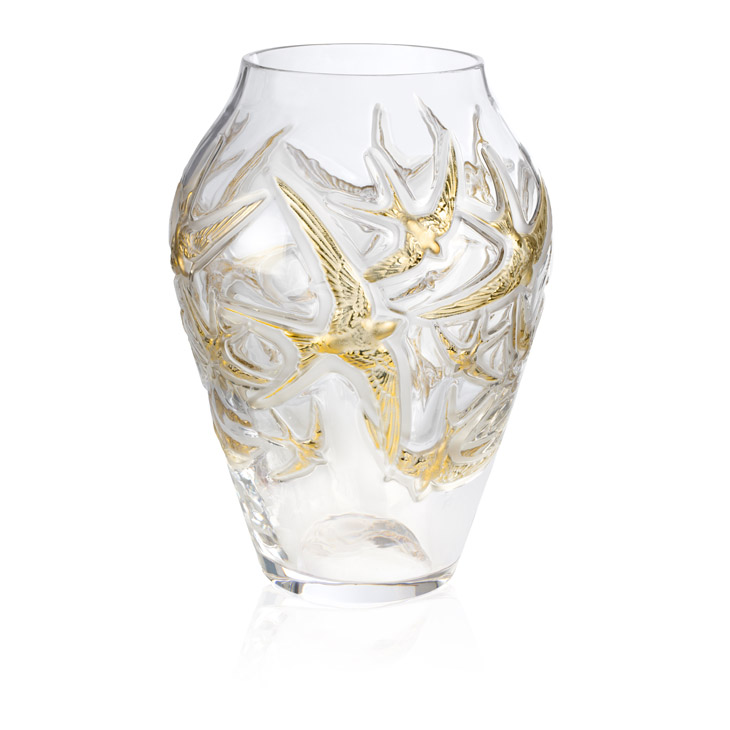 百年水晶工艺结晶 LALIQUE 金燕报喜花瓶
